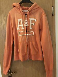 Details zu Stylische Abercrombie&Fitch A&F Kapuzen Sweatjacke Orange Gr. M