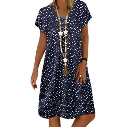 Summer Women Short Sleeve Polka Dot Tunic Dress Ladies Casual A Line Midi Dress