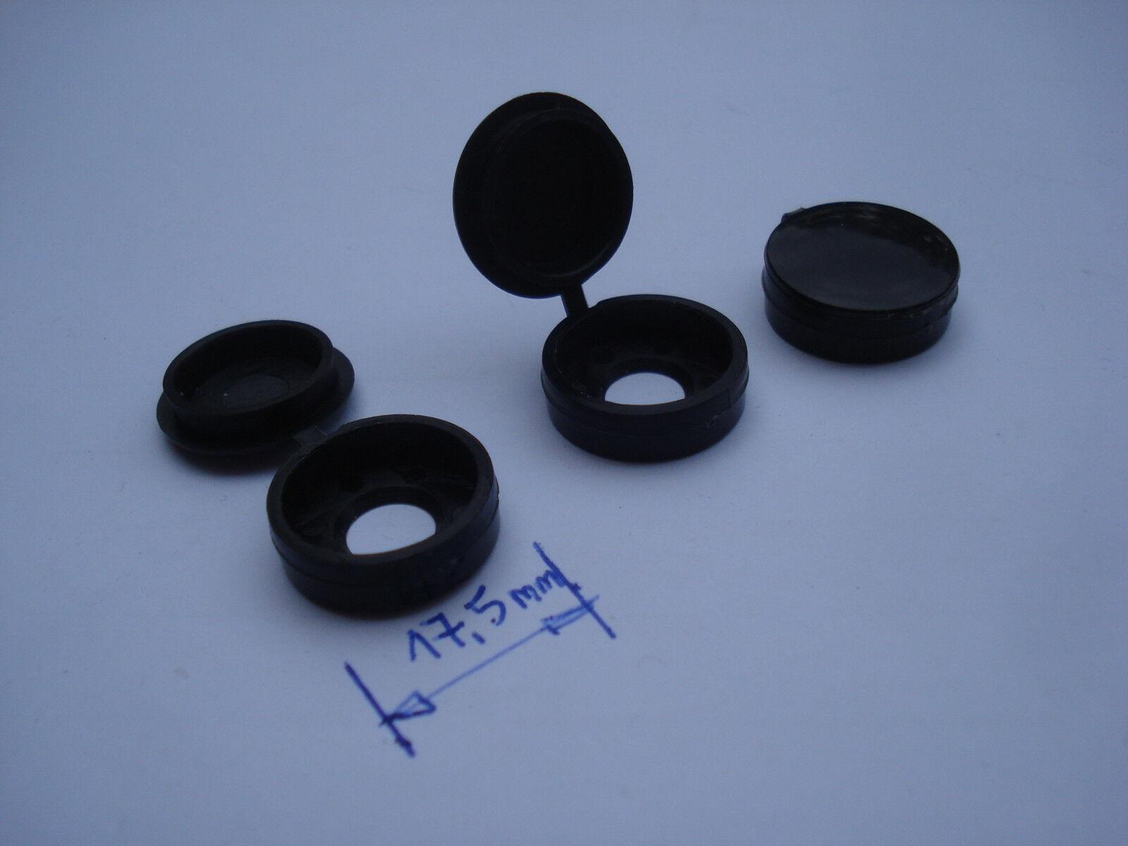 Lot de 1000 cache vis noirs PVC Grand modèle diamètre 17,5 mm