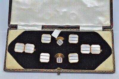 Hemd Nieten und Manschettenknöpfe Set Silber Farbe Metall und Perlmutt