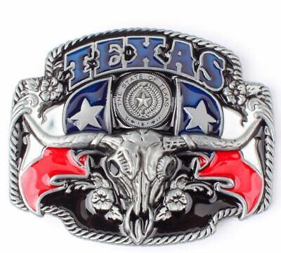 EntrüCkung Gürtelschnalle Buckle Für Gürtel Bis 4 Cm Breite Metall Texas Longhorn Cowboy