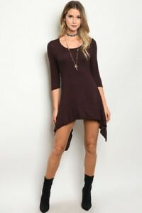 Shop-the-Trends-Boho-Cowgirl-Brown-Shark-Bite-Hem-Western-Tunic-Top-Blouse-S-M