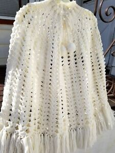 bd328d289 Image is loading Womens-White-Wool-Poncho-Cape-Crochet-Fringe-Tassels-