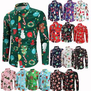 Christmas-Xmas-Print-Mens-Casual-Shirts-Fashion-Slim-Fit-Long-Sleeve-Dress-Shirt