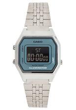 Casio LA680WA-2B Ladies Mid-Size Silver Digital Retro Vintage Watch Black Blue
