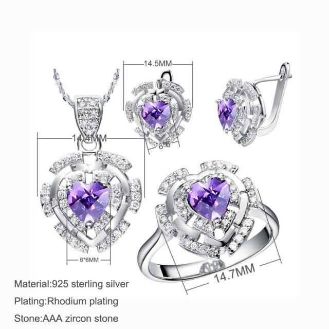 63f90647c 925 Sterling Silver Purple CZ Girls/Women Jewellery Set Earrings, Necklace,  Ring