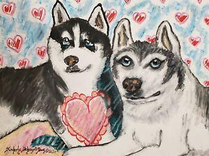 Siberian Husky Giclee Art Print 11x14 Signed by Artist KSams Valentines Day Dogs