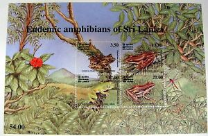 2001-SRI-LANKA-FROG-STAMPS-SHEET-OF-4-SCOTT-1367A-WART-TREE-AMPHIBIANS-WOOD