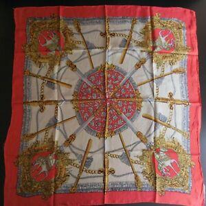 Carre-soie-foulard-style-HERMES-cheval-epee-cavalier-vintage-mode-femme-N5509