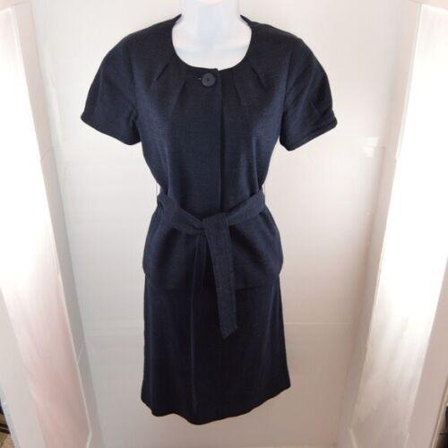 J. Crew Navy Textured Belted Skirt Suit