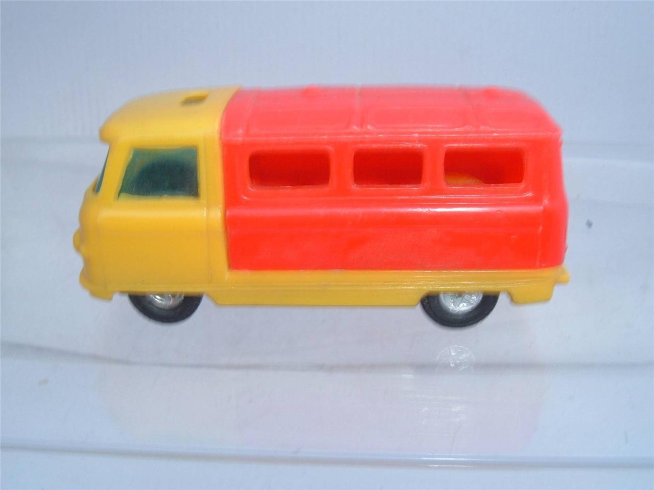 PLASTIC COMMER MINI BUS MADE BY PETREL HONG KONG FRICTION MOTOR WORKING SEE PICS