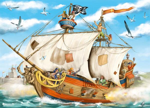 Ravensburger Puzzle Puzzles Kinerpuzzles Pirate Ship on Lake Ship 80 Share