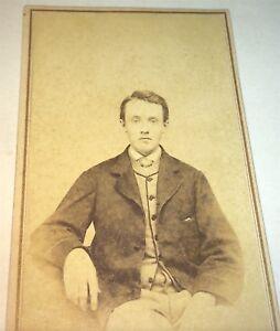 Antique-Victorian-American-Civil-War-Reconstruction-Era-Man-Tax-Stamp-CDV-Photo