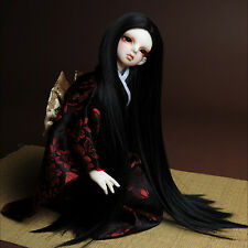 """[Dollmore] 1/4 BJD MSD Wig size (7-8)"""" Risca Long Straight Wig (Black)"""