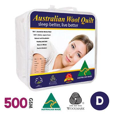 Double Size Australian Made Luxury Merino Quilt/duvet 500gsm Winter Weight Superior Performance Bedding