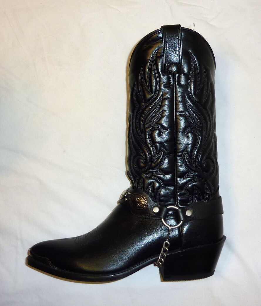 Laredo 6770 Size 7D Mens Wide Tallahasse Classic Western Cowboy Boots BLACK NEW