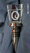 """2270MJ Crystal Cube Wine Stopper INITIAL """"O"""" Suspended in the Crystal BEAUTIFUL!"""