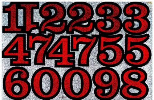 Aufkleber Zahlen mit Glitzeroptik verschieden Farben von 0-9 A4 Format