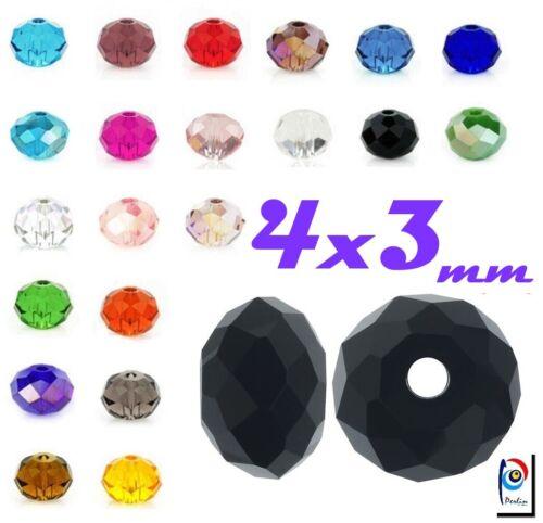 TCHÈQUE CRISTAL Perles Rondell 4 x 3 mm 25stk Perles de Verre Bijoux Choisir