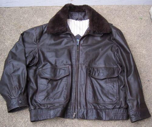Gant dark brown leather bomber flight jacket 46 US