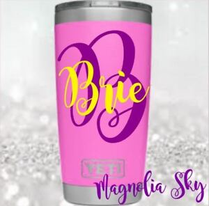 Bow/& Initials Glitter Or Print Cups Monogram Vinyl Decal For Your Tumblers