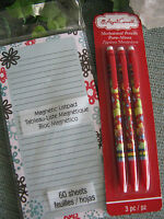 Colorful Doodle Magnetic To Do Shopping List Pad W/free 3-pk Pencils