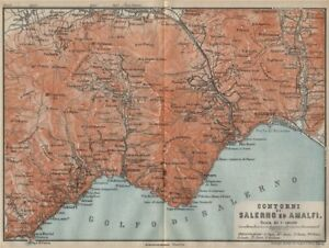 Details About Amalfi Coast Maiori Vietri Cava De Tirreni Salerno Costiera Amalfitana 1912 Map