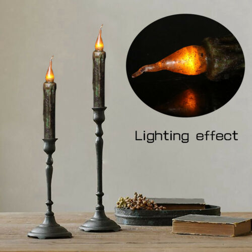 17cm LED Flameless Wax Candle Battery Operated Taper Candle Black Hot Sale
