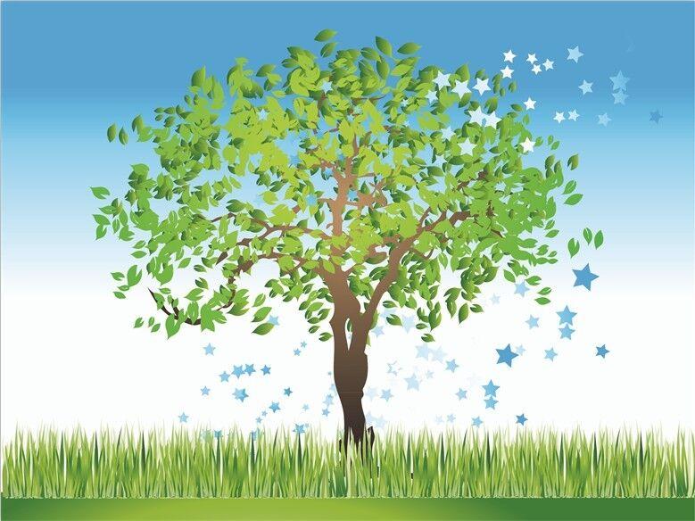 3D Bäume Rasen1141 Fototapeten Wandbild Fototapete Bild Tapete Familie Kinder