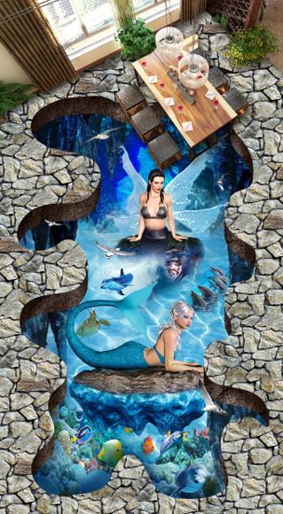 3D Insel Fisch 66 Fototapeten Wandbild Fototapete Tapete Familie DE Lemon