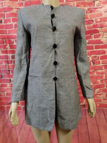 Joan + David  Black & white Wool  Jacket Coat Vint