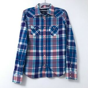 American-Eagle-Women-039-s-Small-Western-Pearl-Snap-Button-Shirt-Plaid-Long-Sleeve