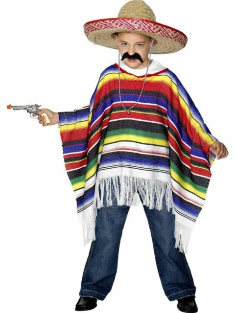 Poncho Kids Wild West Mexican Bandit Boys Fancy Dress Party Costume Outfit