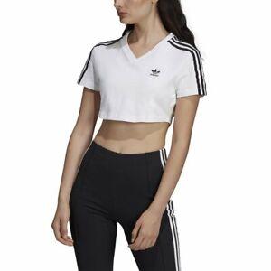 Detalles de Camiseta Cropped adidas Blanco Mujer