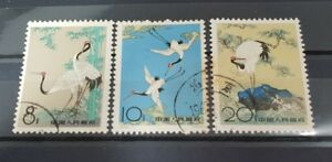1962-China-S48-Red-Crowned-Cranes-3X-Used-Stamps-Set