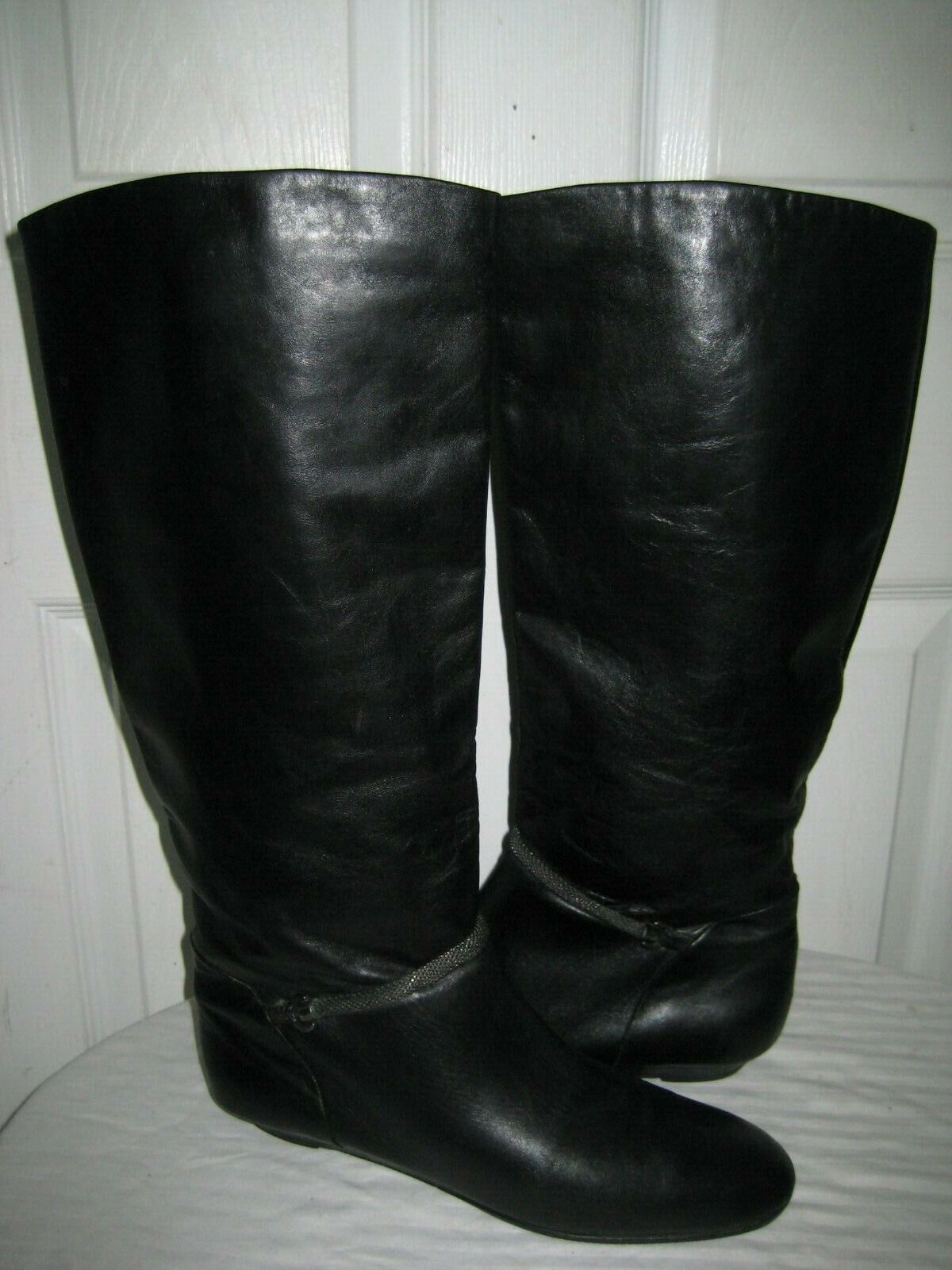 MIGLIORINI BLACK  LEATHER  LOW WEDGE RIDING BOOTS SHOES WOMENS SIZE 10