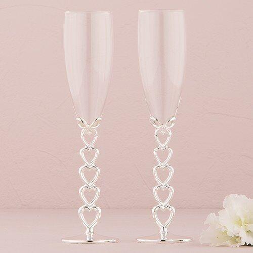 Champagner Glas Versilbert mit Herz Herz Herz Stiele Design Paar | Genial  | Moderater Preis  85d597