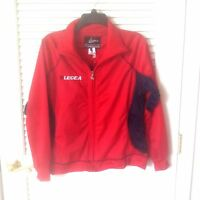 Legea 100% Polyester Red W/ Navy Trim Zip Front Soccer Jacket Size Small