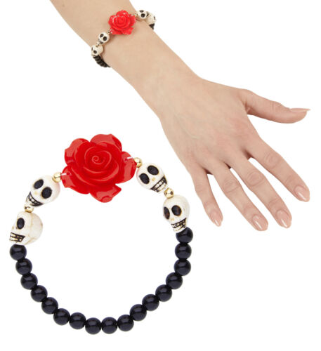 MEXICAN DAY OF THE DEAD ROSE AND SKULLS BEADED BRACELET JEWELLERY HALLOWEEN