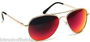 Red Lens Gold Frame Sunglasses : Aviator Sunglasses Mens Gold Metal Frame Fire Red Color ...