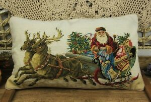 20-034-VTG-Hand-Stitched-Needlepoint-Pillow-Santa-Claus-Delivering-Gifts-Wonderful
