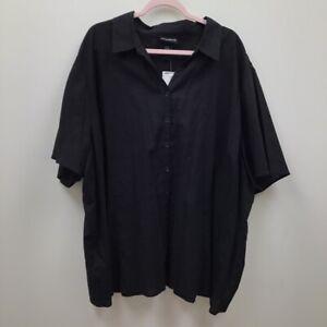 New-Maggie-Barnes-Womens-Linen-blend-Button-Up-Shirt-Black-Short-Sleeve-Plus-5X