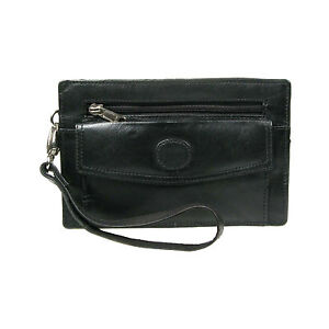 New Black Real Leather Double Zip Holder With Front//Back Taxi Pouch Purse 2085