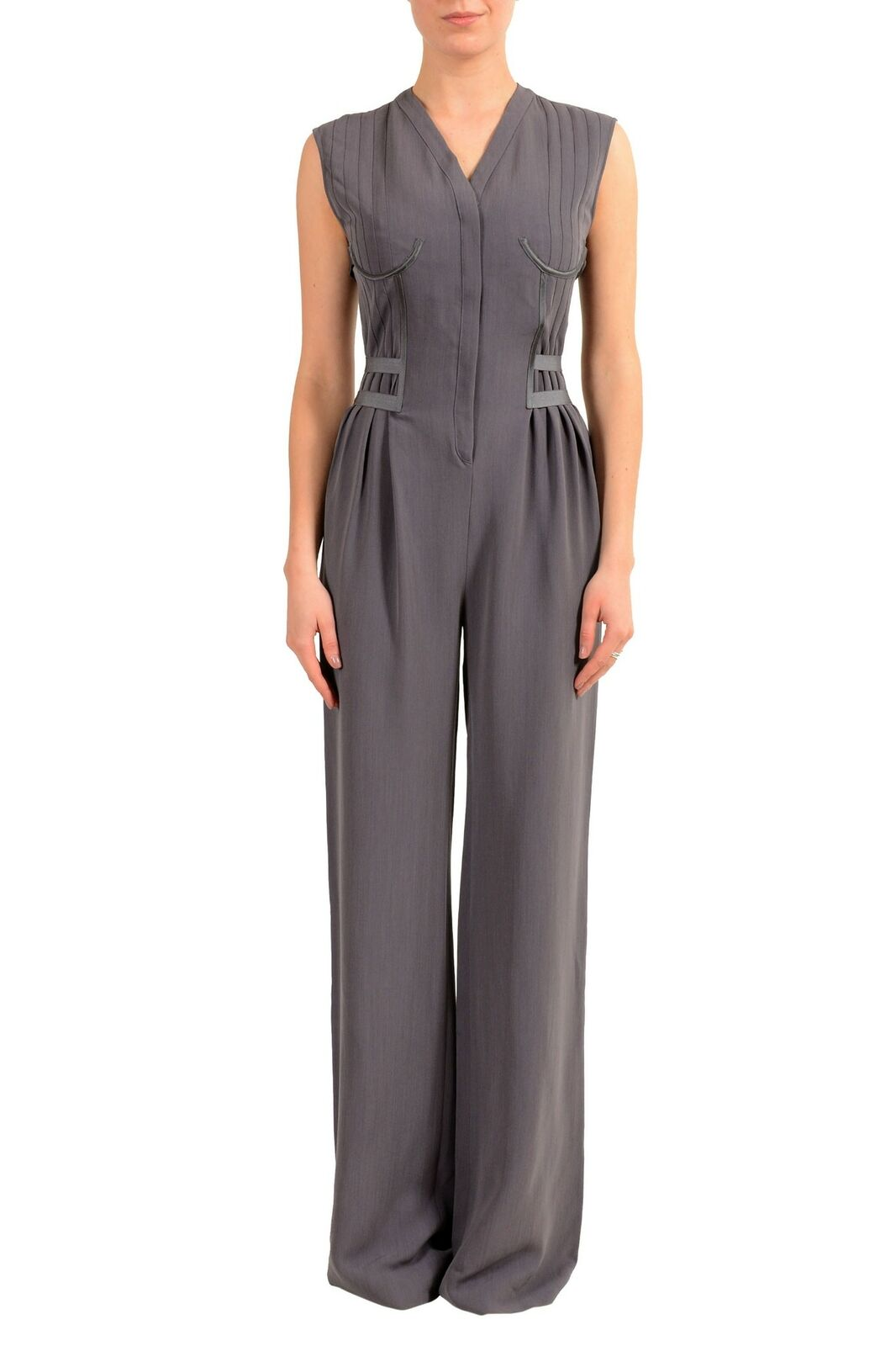 Maison Margiela 1 Women's Wool Purple Sleeveless Straight Leg Jumpsuit