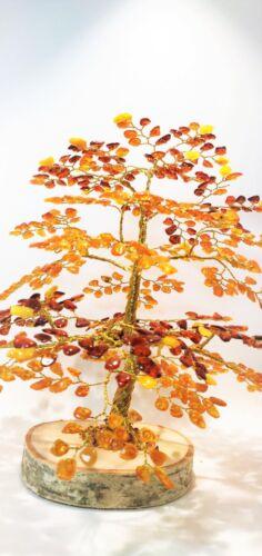 "Amber Tree of Happiness  Oak  9.5/""  630  Baltic  Amber Stones"