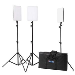 METTLE LED Studioset FLATBOARD SL-430 3x Flächenleuchte + Stative + Studiotasche