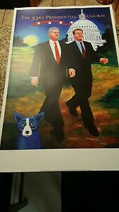 Authentic original George Rodrigue presidential inauguration print Bill Clinton