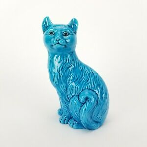 Vintage Cat Figurine Turquoise Blue Chinese Porcelain China 8in