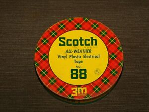 VINTAGE-4-034-ACROSS-SCOTCH-VINYL-PLASTIC-ELECTRICAL-TAPE-88-TIN-CAN-EMPTY