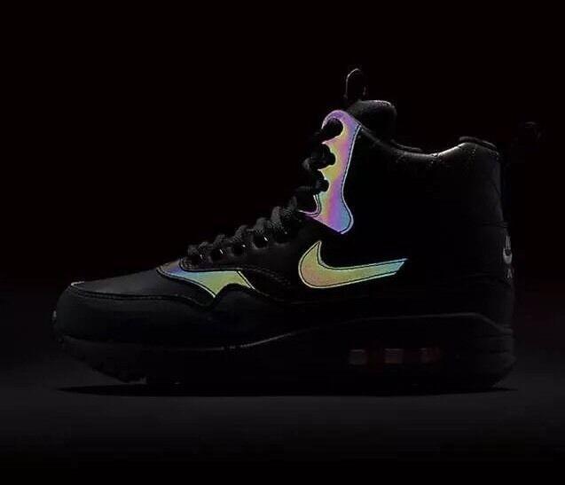 Nike Air Max 1 Mid Sneakerboot Reflect Black Bright Crimson Womens SZ 6.5 NEW